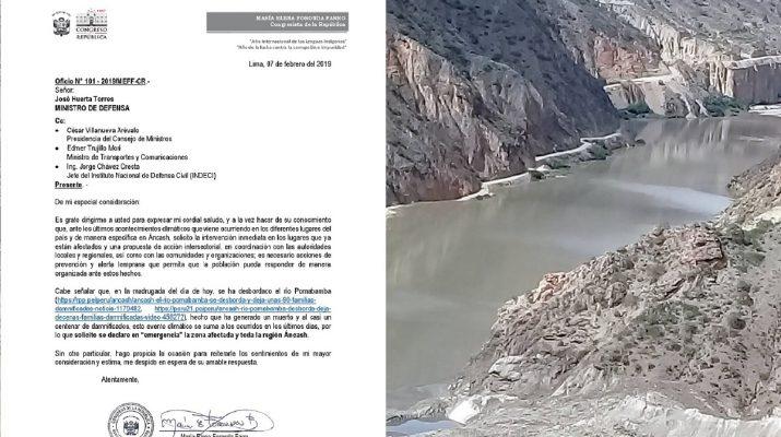 Congresista María Elena Foronda solicita declaratoria de emergencia de Áncash